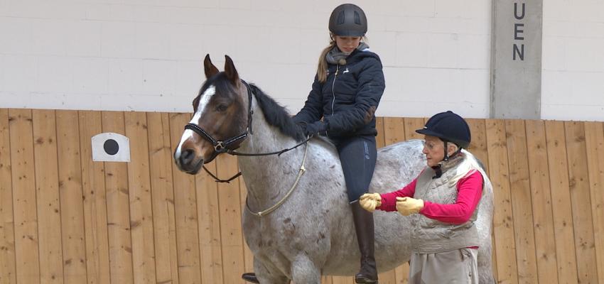 Linda Tellington Jones zeigt einer Reiterin, wie sie ihr Pferd mit Halsring reitet