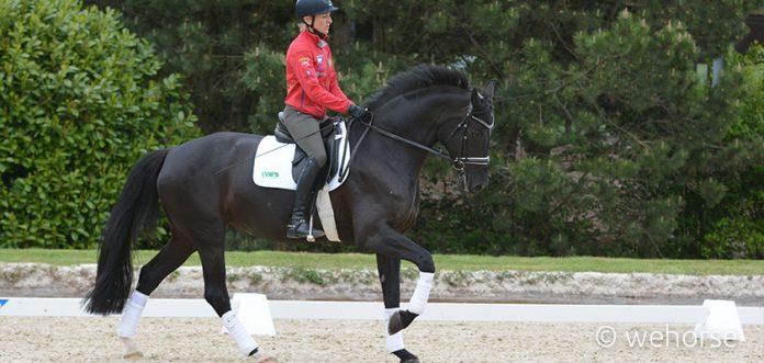 Ingrid Klimke auf schwarzem Dressurpferd