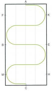 Schlangenlinie durch die Bahn vier Bögen