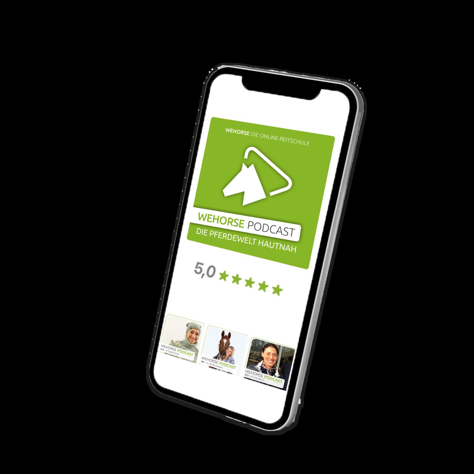 Ein Handy, dass das wehorse Podcast Cover und die positiven Bewertungen zeigt
