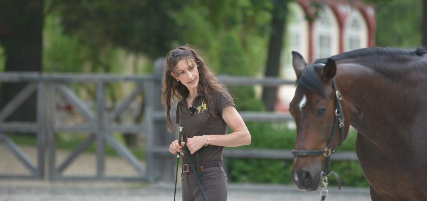 Alizee Froment bei der Freiarbeit mit ihrem Pferd