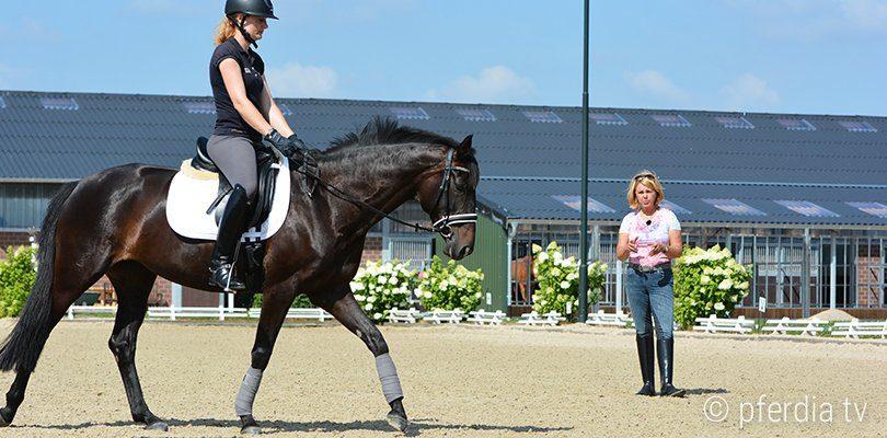 Britta Schöffmann gibt Reitunterricht um den Stuhlsitz zu korrigieren